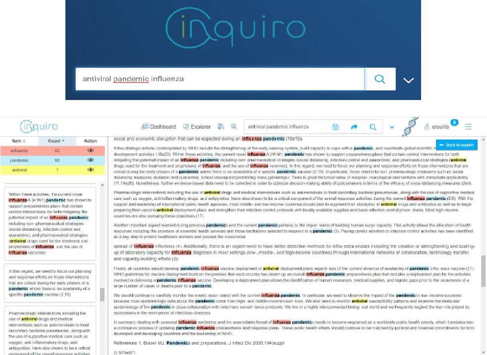 Inquiro search DEXSTR